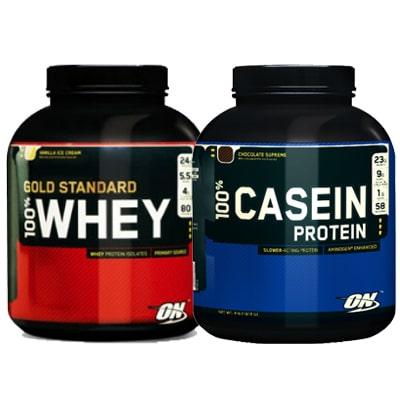 Whey und Casein Protein Pulver.